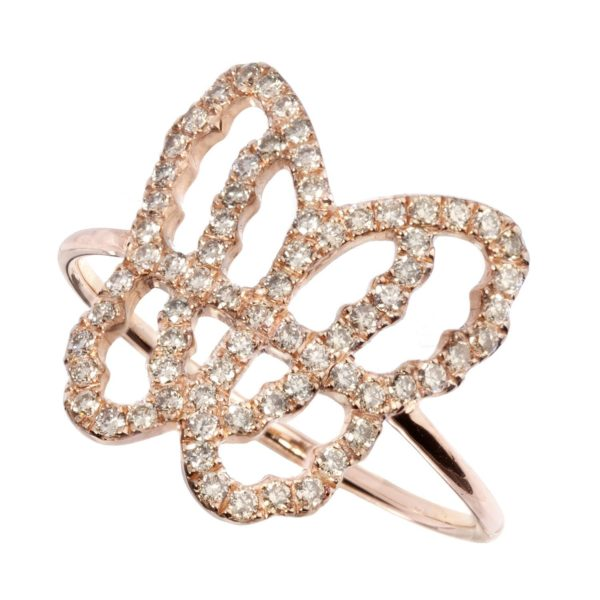Bague Papillon Or Rose 18k Sertie de Diamants Bruns - Live Today
