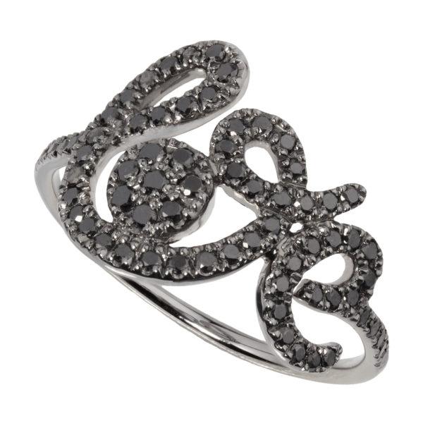 Bague Forever Love diamants noirs
