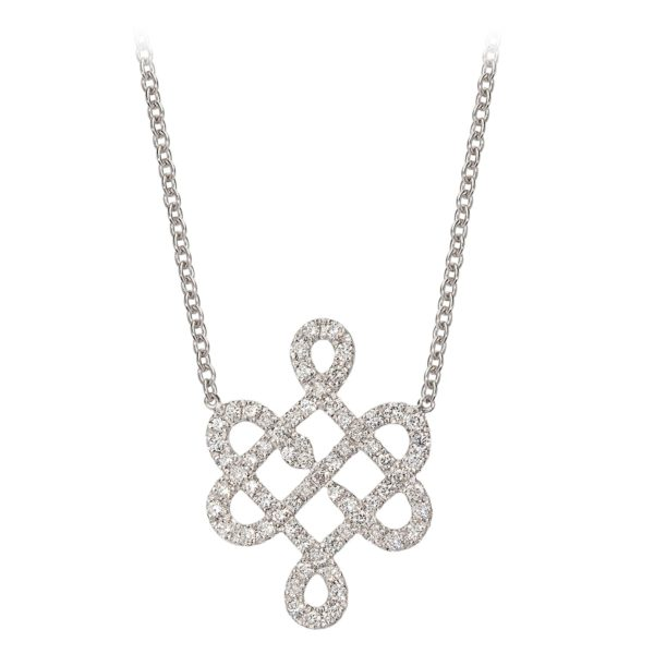 Collier Or Gris 18k Serti de Diamants