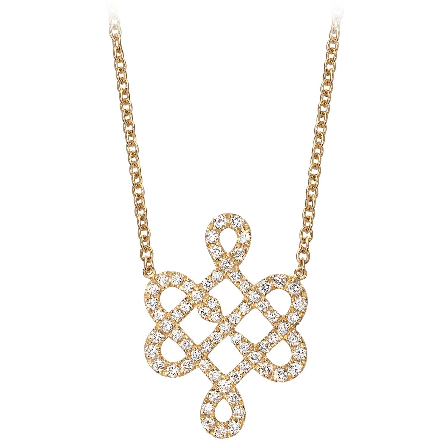 Collier Or Jaune 18k Serti de Diamants