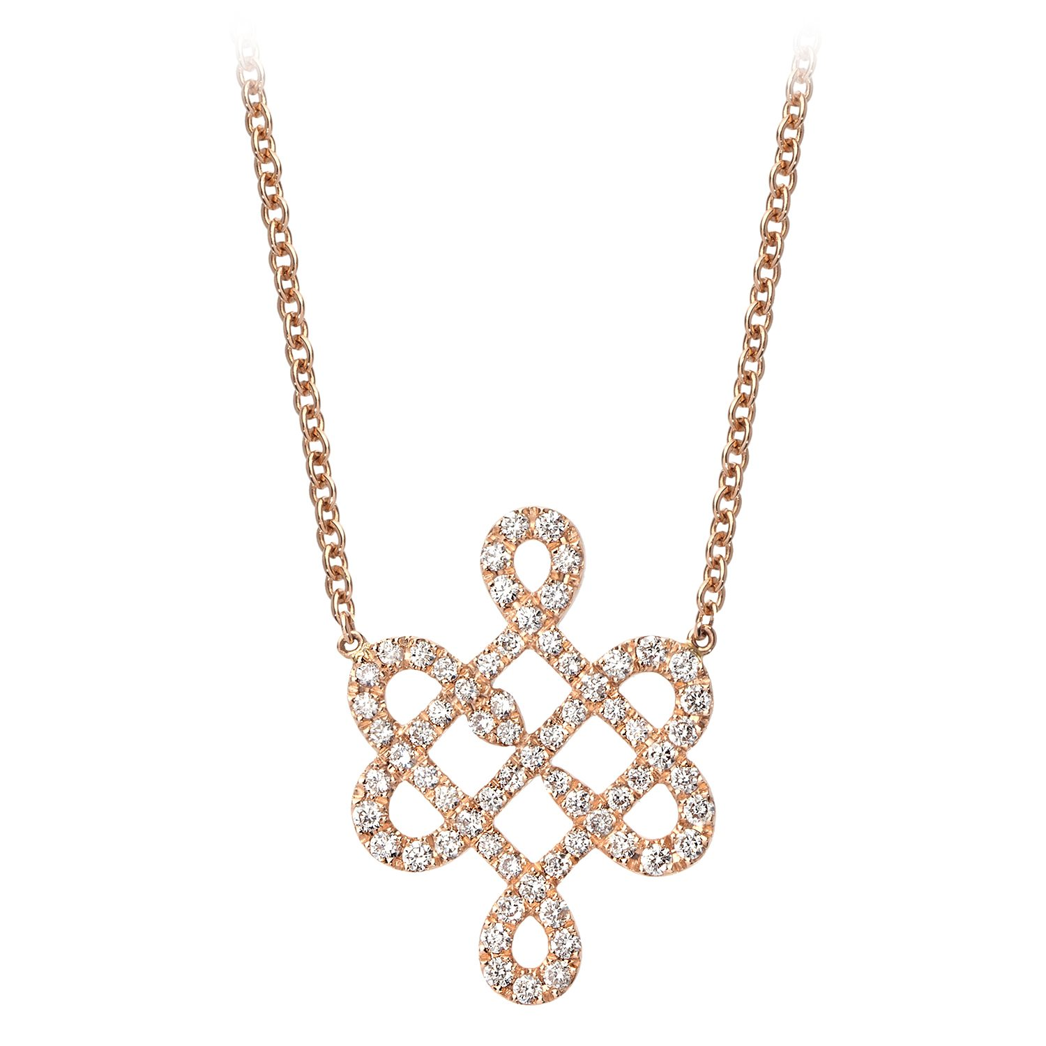 Collier Or Rose 18k Serti de Diamants
