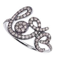 Bague Forever Love Or Gris 18k noirci Sertie Diamants Bruns