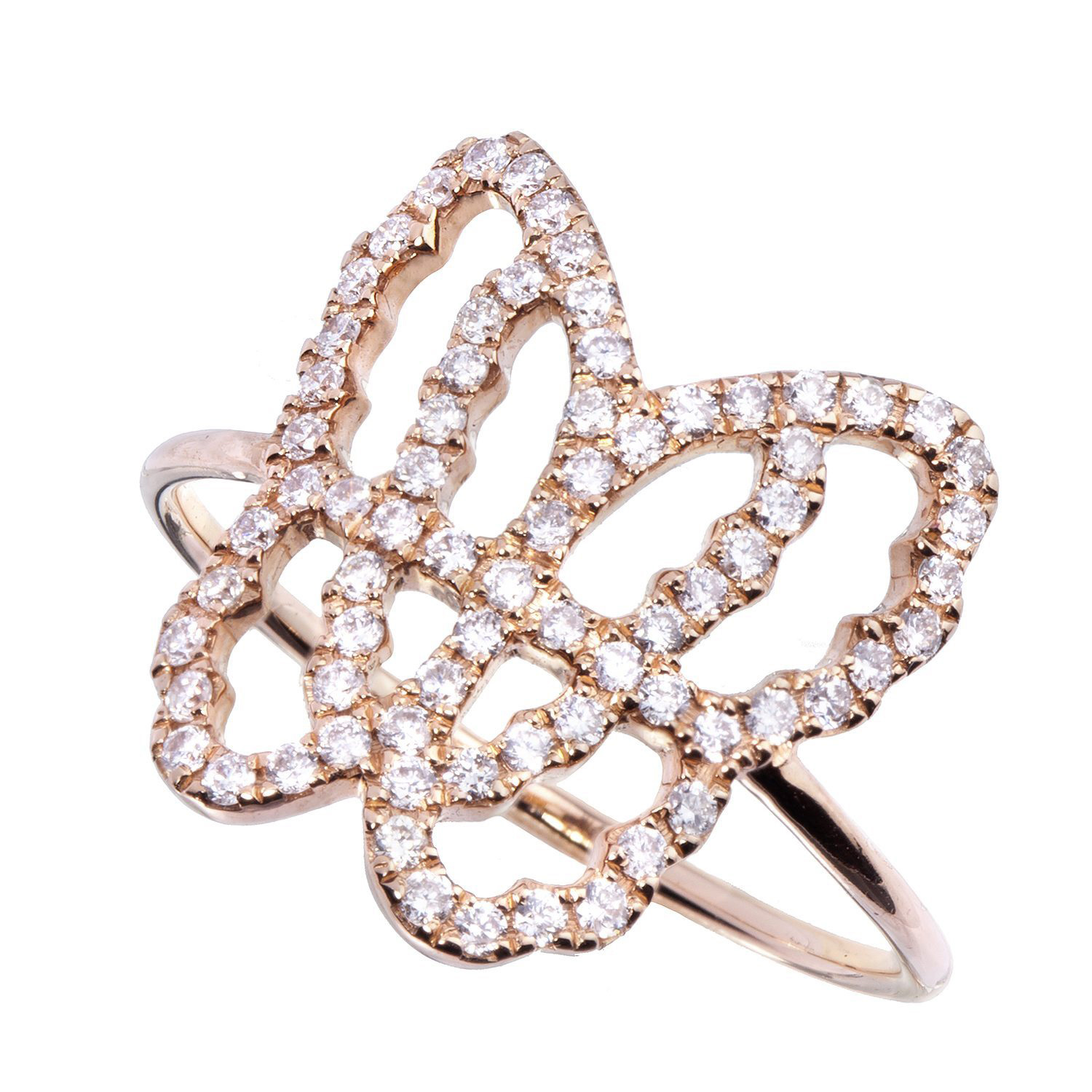 Bague papillon Or Rose sertie Diamants