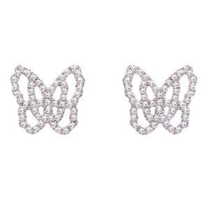Live Today - Boucles d'oreilles Studs Or Gris 18k Serti de Diamants