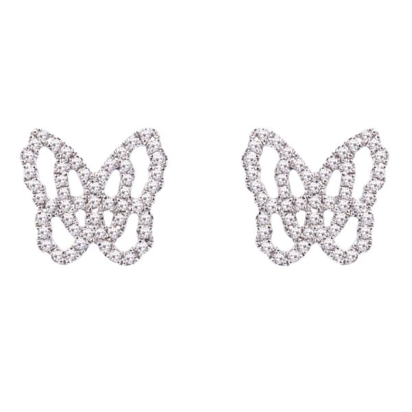 Boucles d'oreilles Papillon Studs Or Gris 18k Serti de Diamants - Live Today