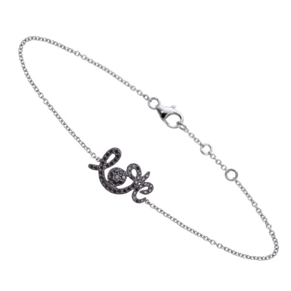 Bracelet Forever Love Or Blanc 18k Serti Diamants Noirs