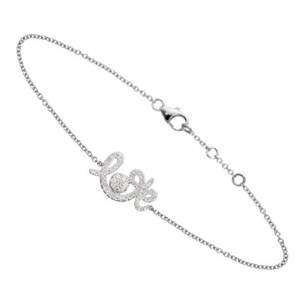 B0920-WD-WG Bracelet Forever Love Or Gris, Diamants Gris