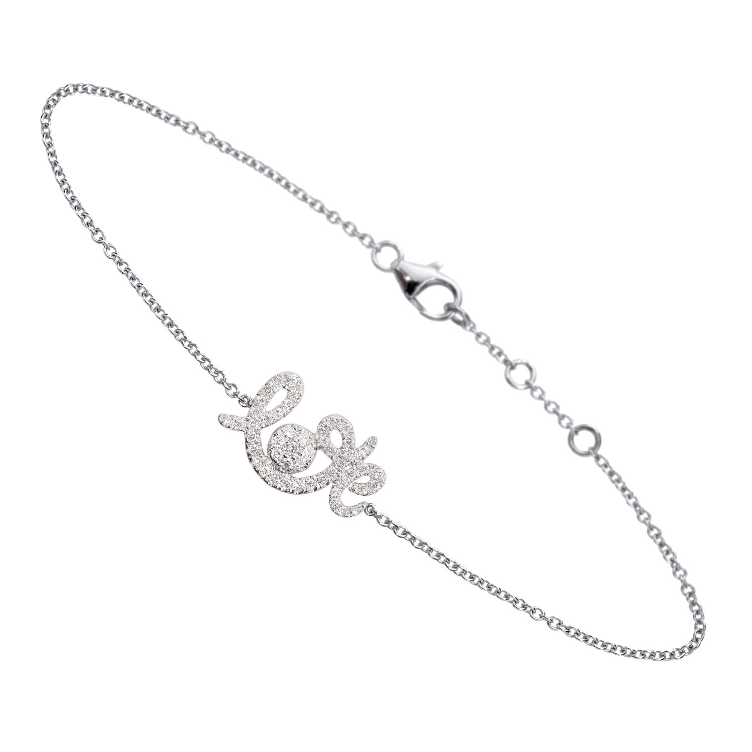 B0920-WD-WG Bracelet Forever Love Or Gris, Diamants Gris