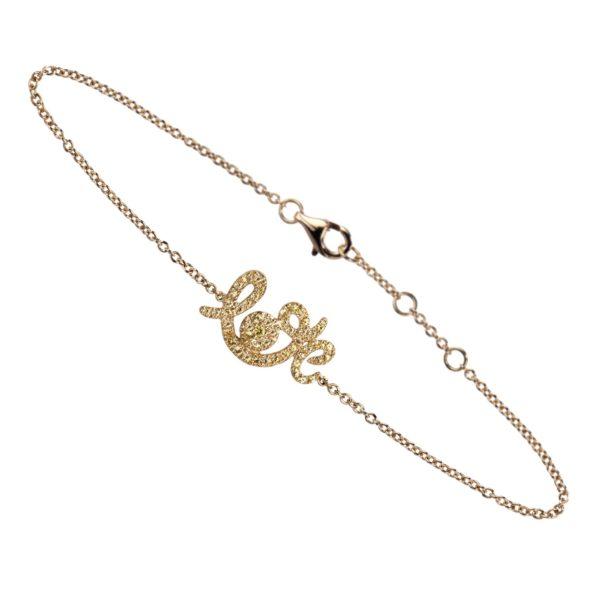 Bracelet Forever Love Or Jaune, Saphirs Jaunes
