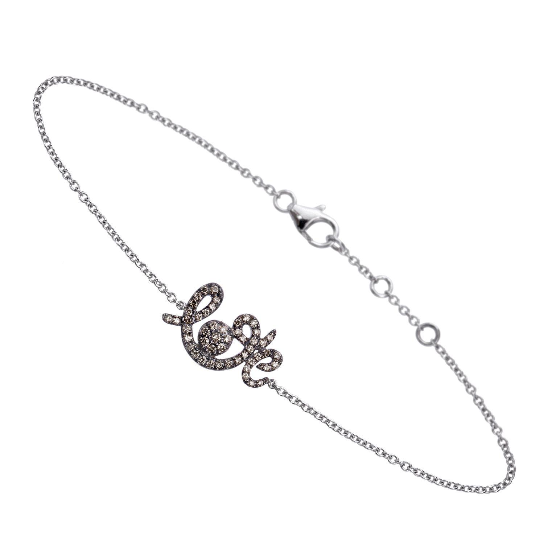 Bracelet Forever Love Or Gris, Serti Diamants Bruns