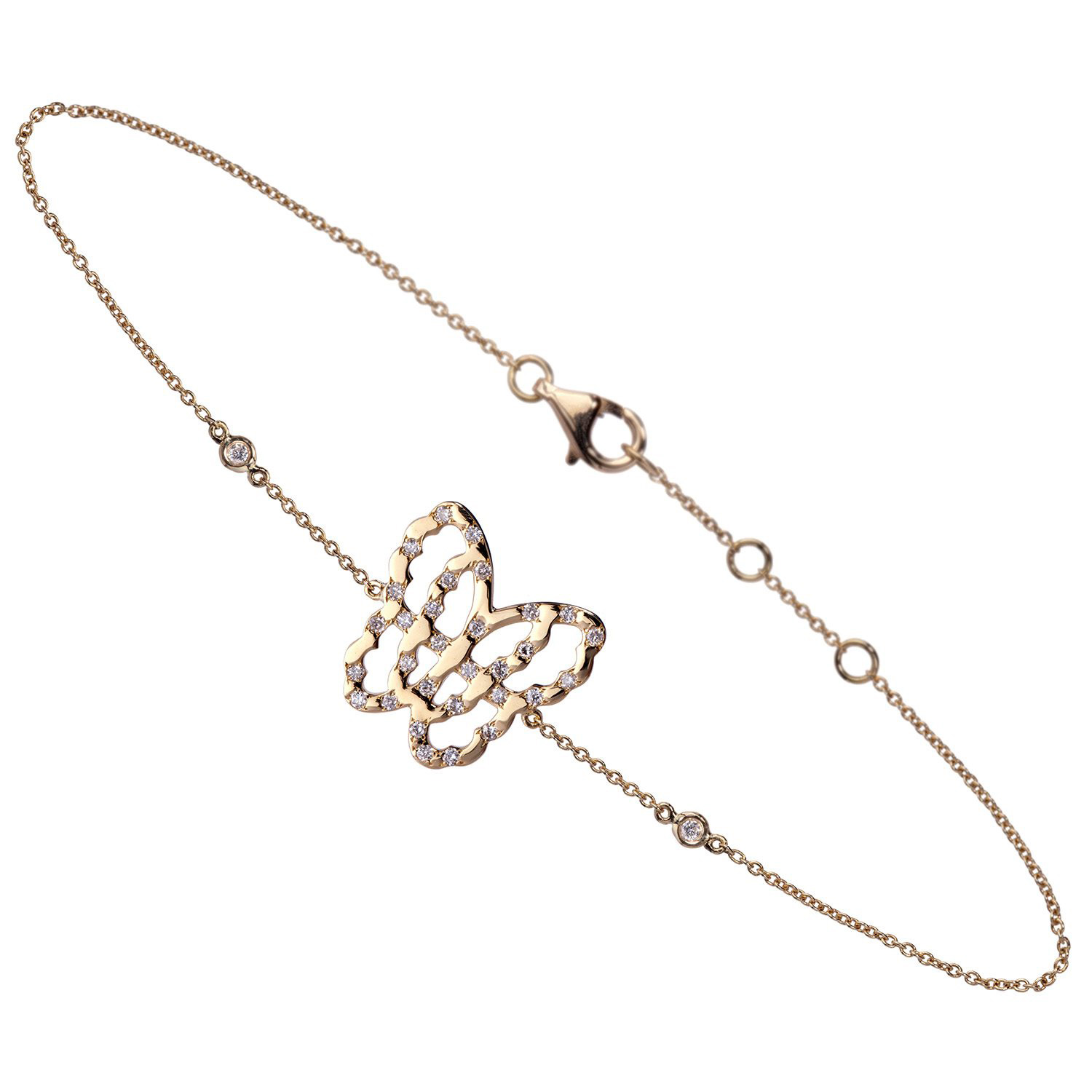 Live Today - Bracelet Or Jaune 18k Parsemé de Diamants