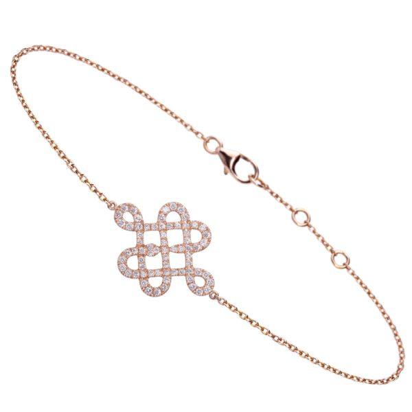 Bracelet Or Rose 18k pavé de diamants