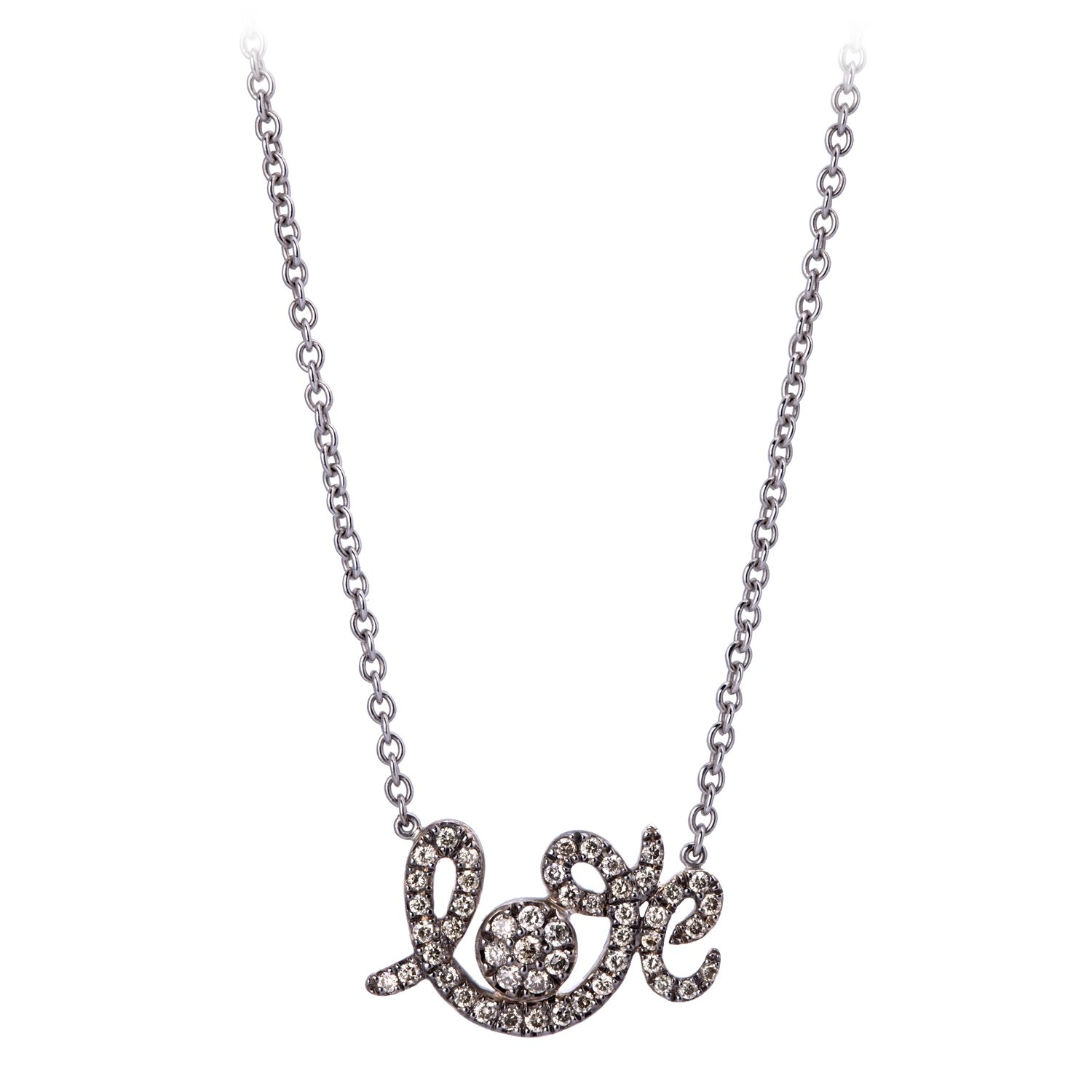 Collier Forever Love Or Gris, Serti Diamants Bruns