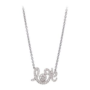 Collier Forever Love Or Gris, Serti Diamants gris