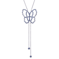 Live Today - Collier Or Gris 18k Serti de Saphirs Bleus