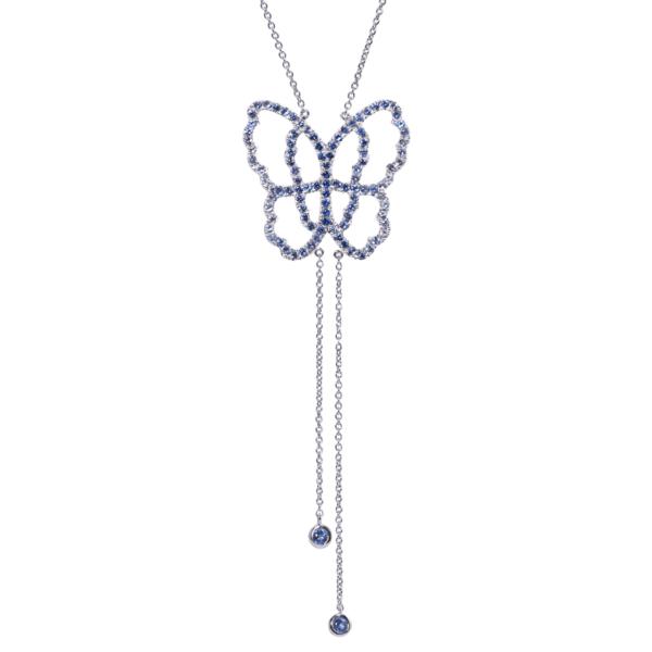 Collier Papillon Or Gris 18k Serti de Saphirs Bleus - Live Today