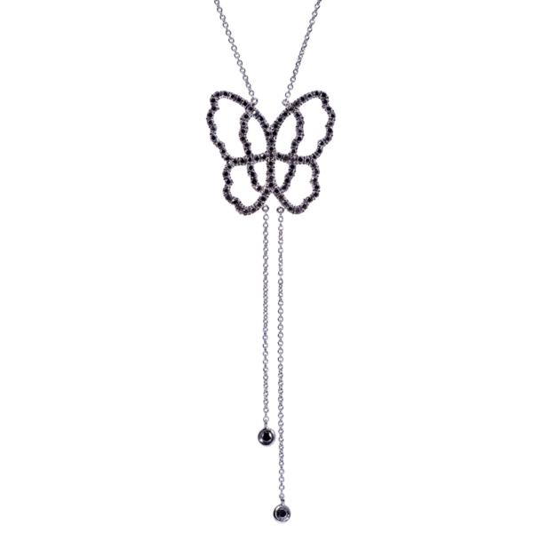 Collier Papillon Or Gris 18k Serti de Diamants Noirs - Live Today
