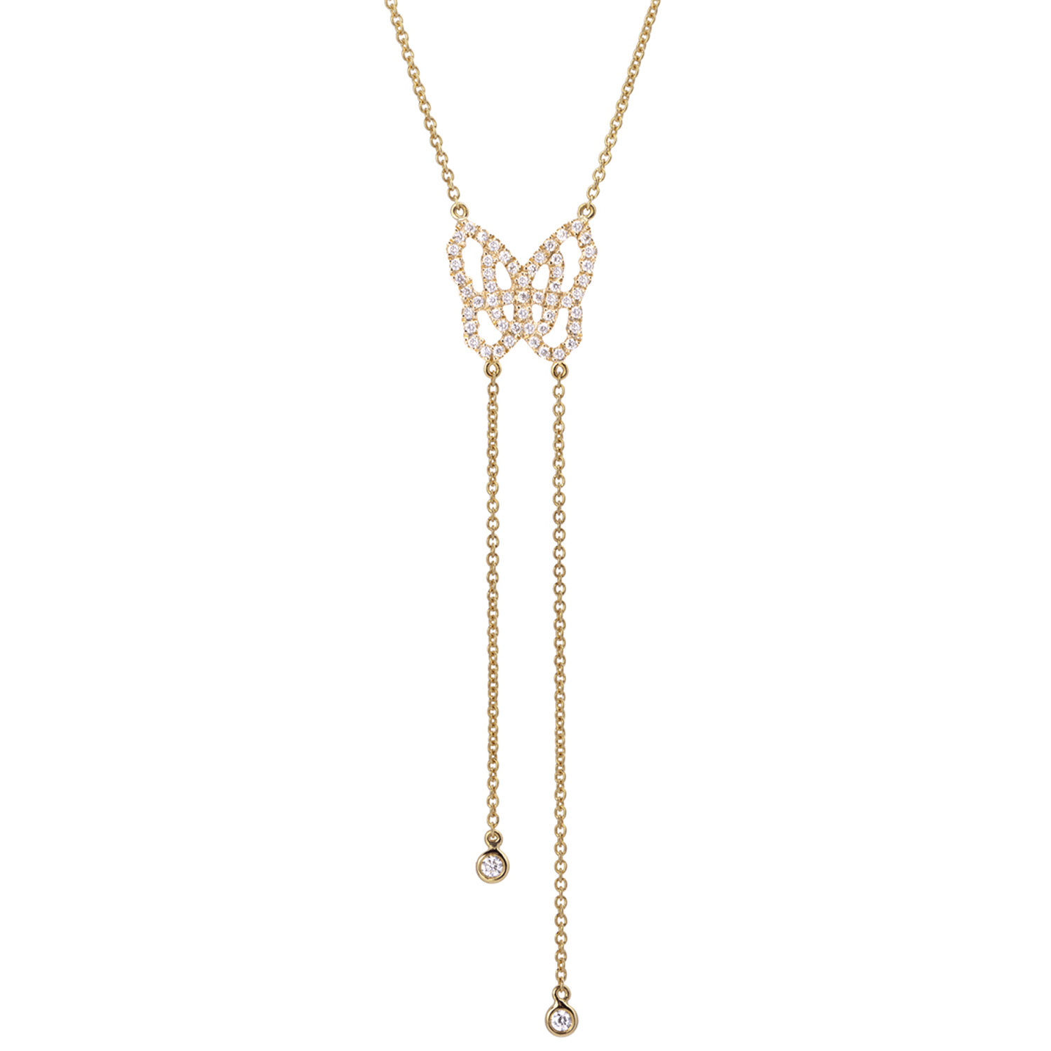 Collier Papillon Mini en Or Gris 18 k Pavé de Diamants