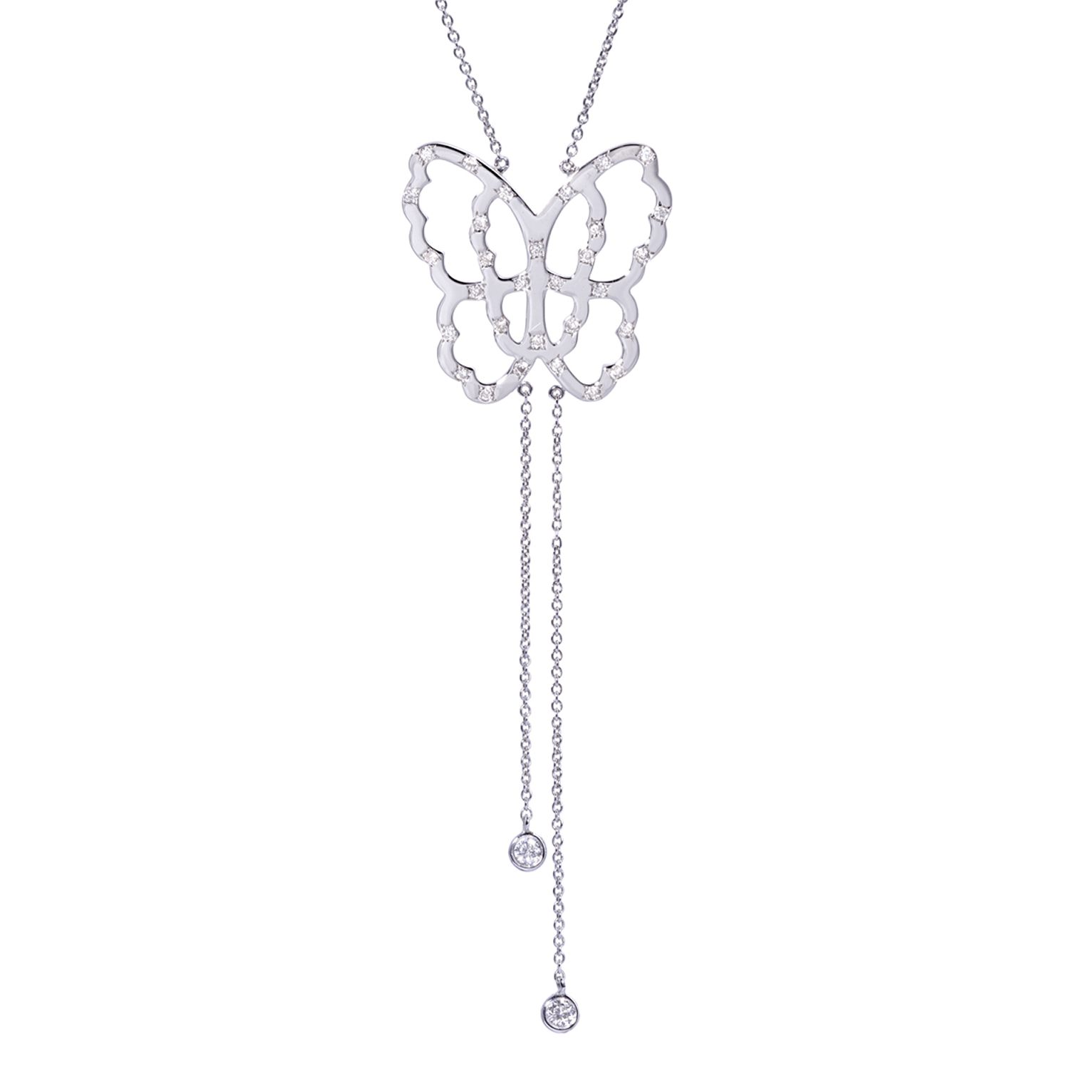 Collier Papillon Or 18k Parsemé de Diamants - Live Today