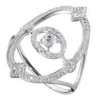 Bague Or Gris 18k Sertie de Diamants Ornée d'un Diamant taillé Rose