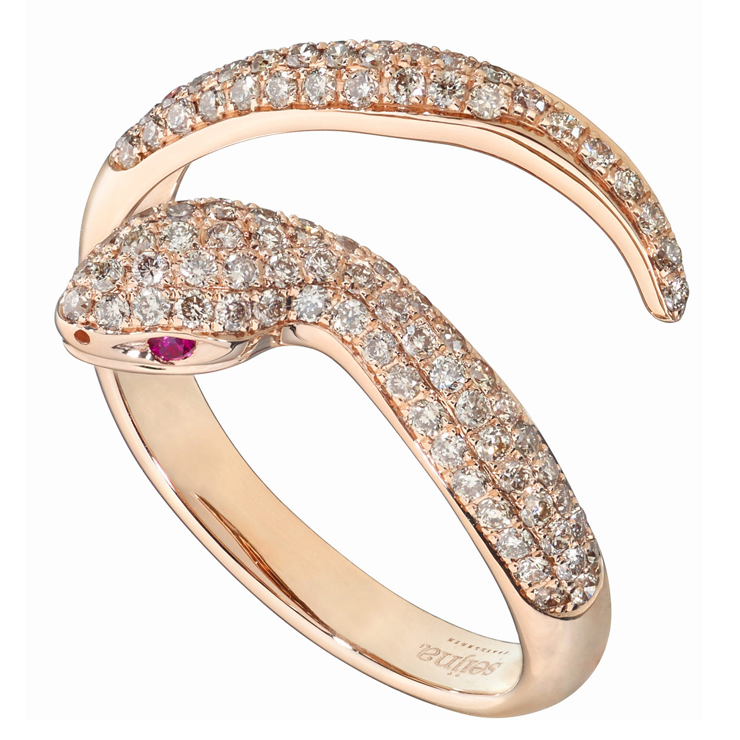 Bague Snake Or rose 18k  sertie de Diamants bruns - Dangerous Kiss