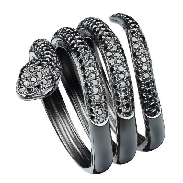 Bague Snake Seijna Or gris 18k rodhié Noir sertie Diamants Noirs XL