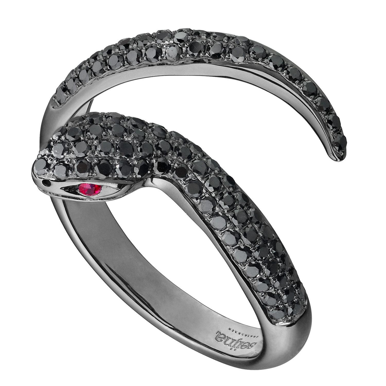 Bague Snake Or Gris 18k Rodhié Noir Sertie Diamants Noirs