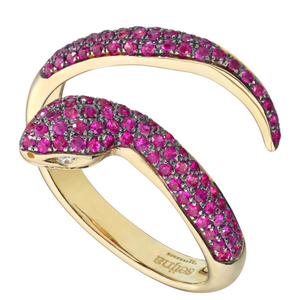 Bague Snake Or jaune 18k sertie de Rubis - Dangerous Kiss