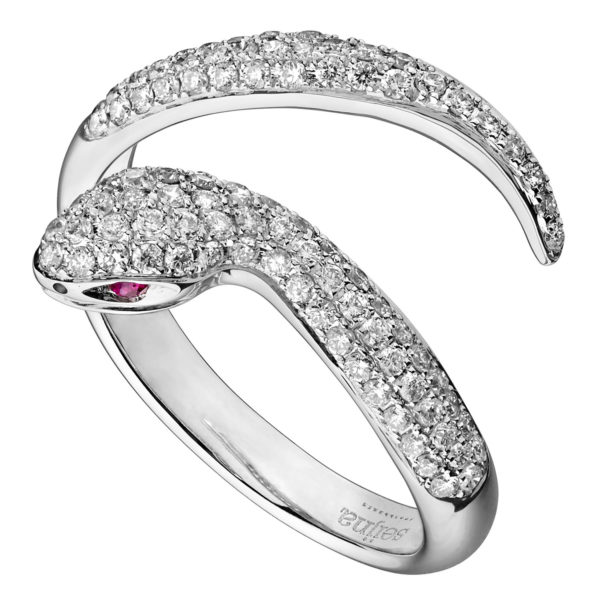 Bague Snake Or gris 18k sertie Diamants - Dangerous Kiss