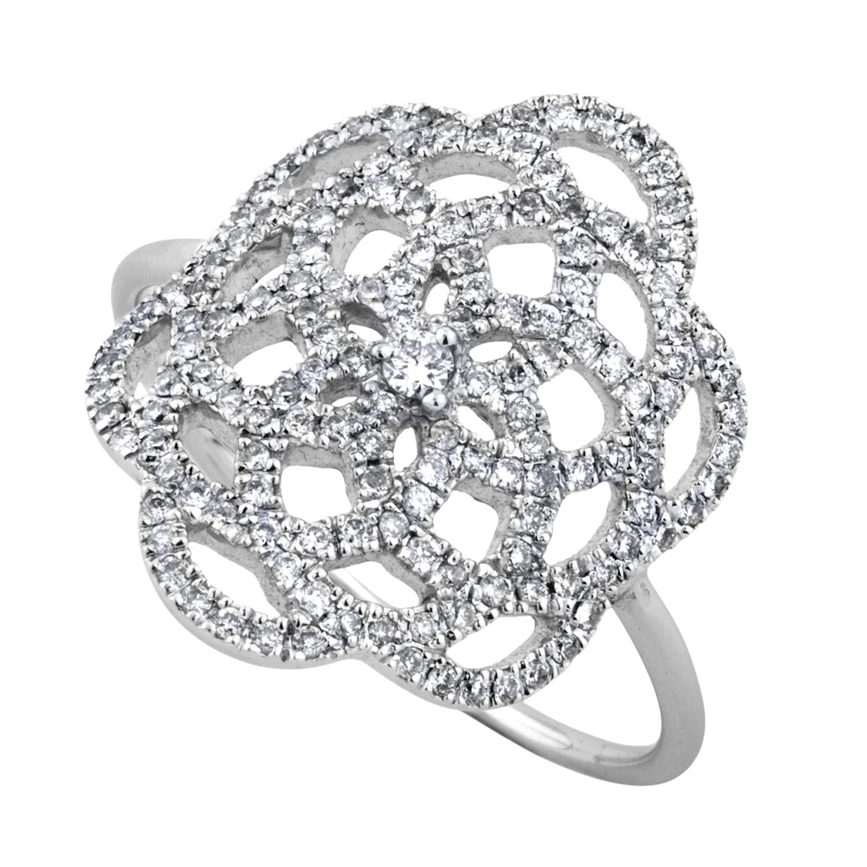 Bague Or Gris 18k Sertie de Diamants - Petit Modèle