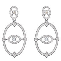 Boucles d'oreilles Or Gris 18k Serti de Diamants Ornées de 4 Diamants Taillés Rose