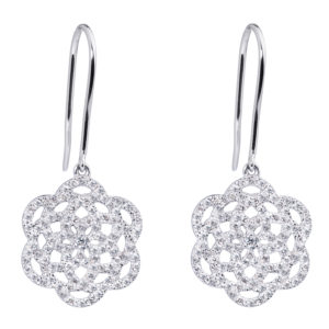 Boucles d'oreilles 18k Or Gris Serti de diamants - Petit Modèle