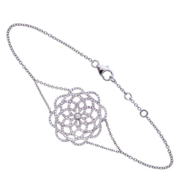 Bracelet 18k Or Gris Serti de Diamants - Grand Modèle