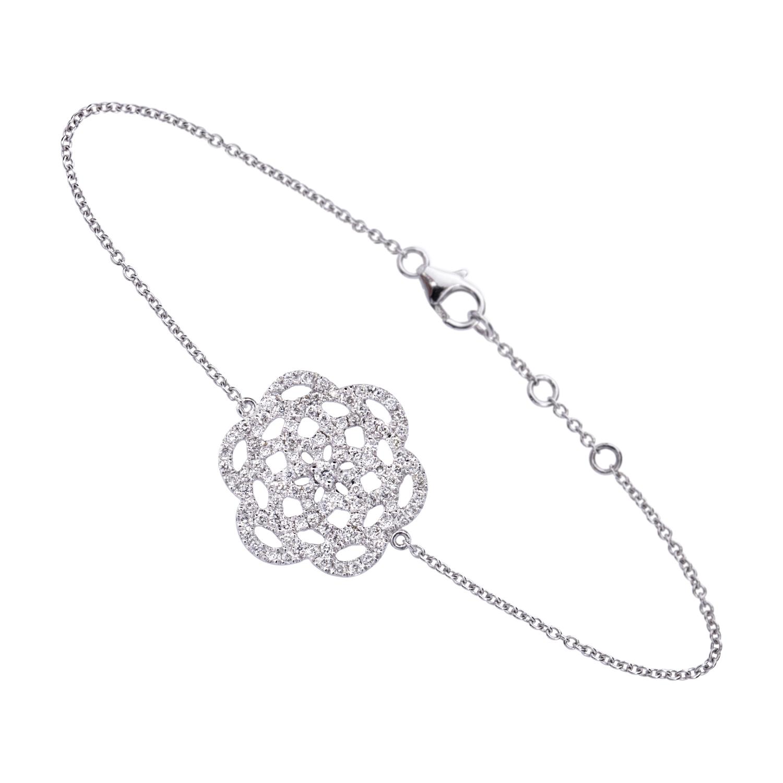 Bracelet 18k Or Gris Serti de Diamants - Petit Modèle