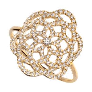 Bague Or Jaune 18k Sertie de Diamants - Petit Modèle