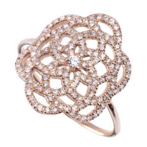 Bague Or Rose 18k Sertie de Diamants - Petit Modèle