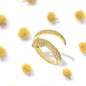 Bague Serpent Or Jaune Saphir