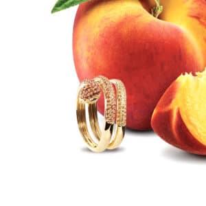 Bague Serpent Or Jaune Saphir orange