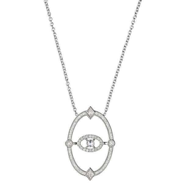 Collier Or Gris 18k Serti de Diamants Orné d'un Diamant taillé rose