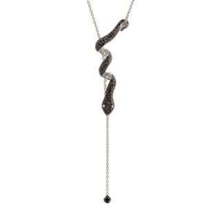 Collier Or gris 18k serti de Diamants Noirs - Dangerous Kiss