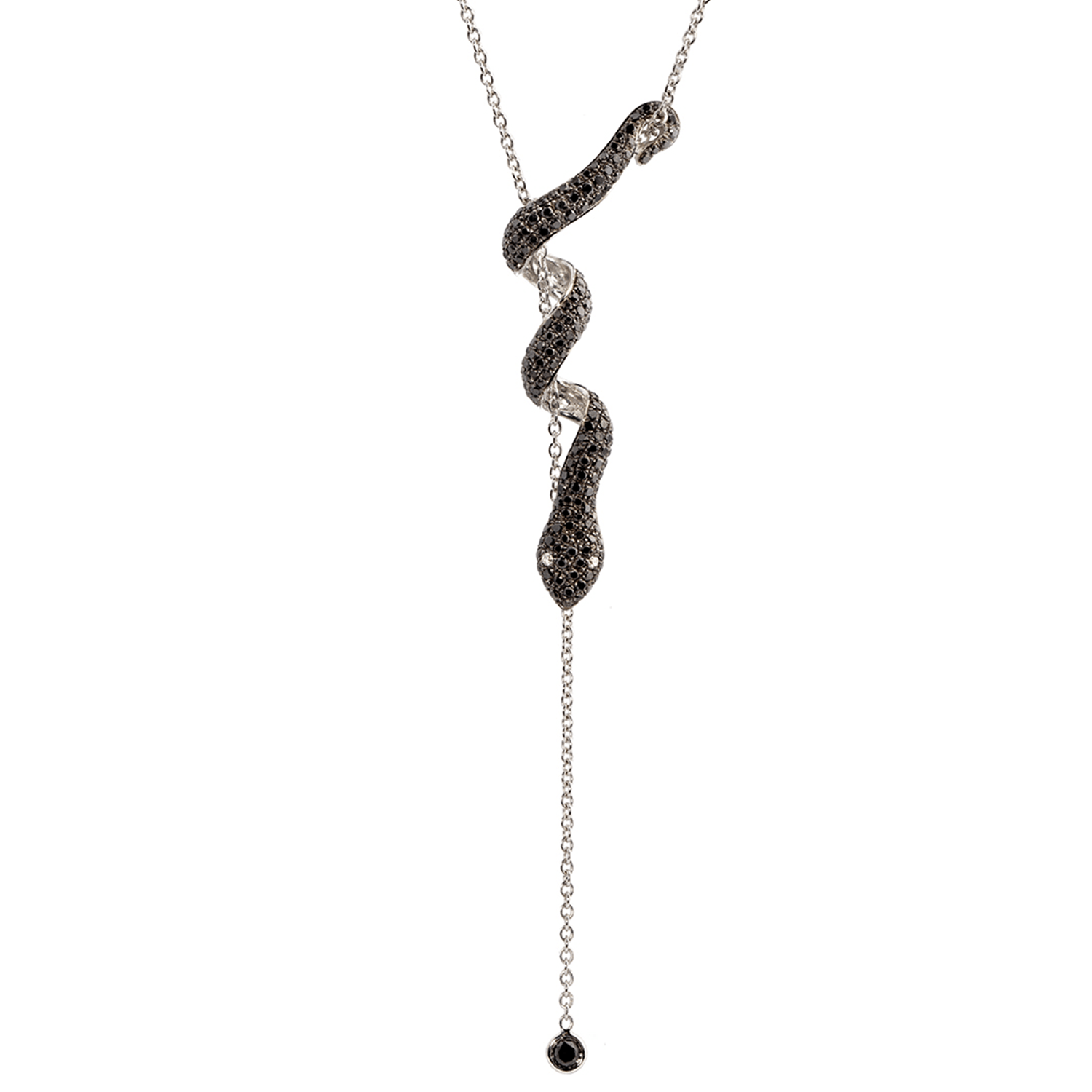 Collier Snake Or gris 18k serti de Diamants Noirs - Dangerous Kiss