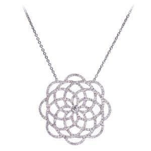 Collier 18k Or Gris Serti de Diamants - Grand Modèle