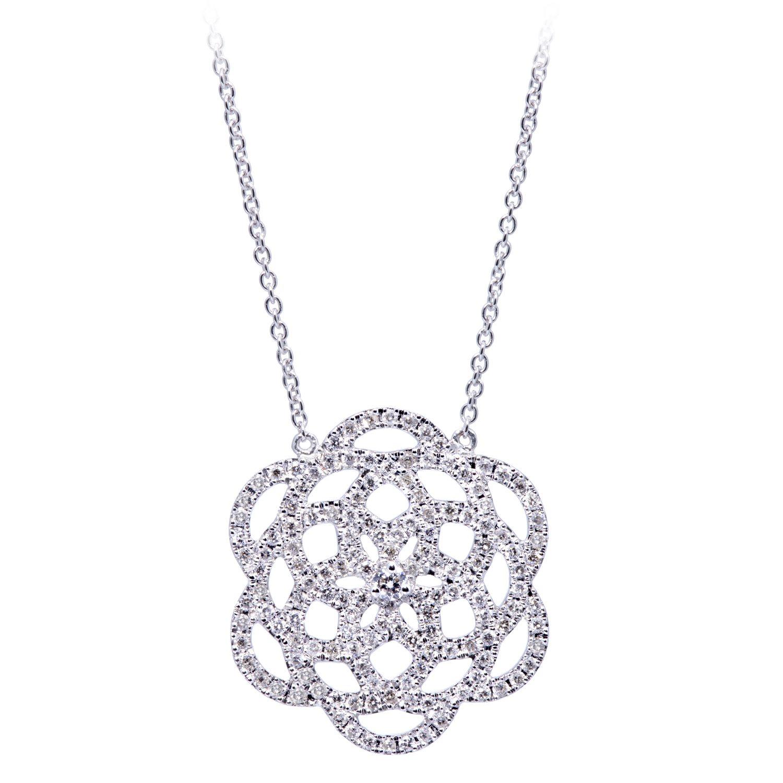 Collier 18k Or Gris Serti de Diamants - Petit Modèle