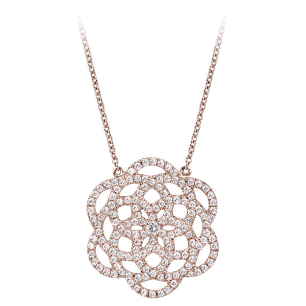 Collier 18k Or Rose Serti de Diamants - Petit Modèle