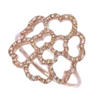 Bague Lucky Love  Or Rose 18k Sertie de Diamants Bruns