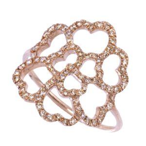 Bague Lucky Love Or Rose 18k Sertie de Diamants Bruns