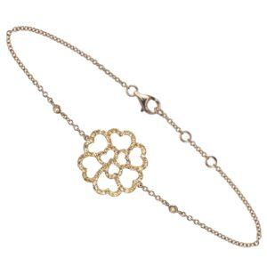 Bracelet Lucky Love Or Jaune 18k Serti Saphirs Jaunes
