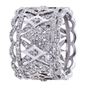 Bague Dentelle Or Blanc 18K Sertie Diamants