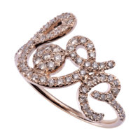 Bague Forever Love diamants bruns or rose