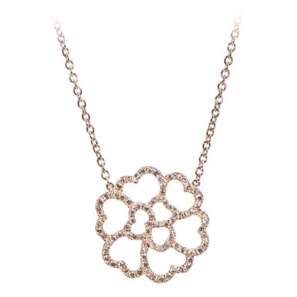 Collier Lucky Love Or Rose 18k Serti Diamants Bruns